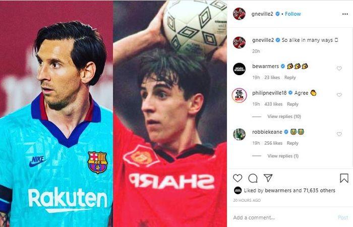 Unggahan foto oleh Gary Neville yang menunjukkan foto dirinya dengan Lionel Messi.