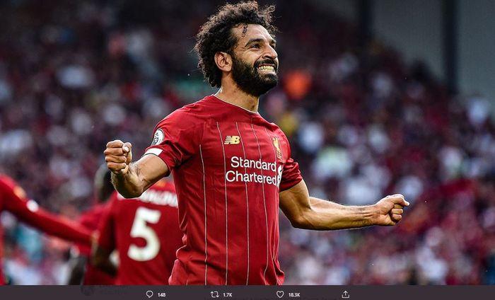 Mohamed Salah saat merayakan gol bagi Liverpool.