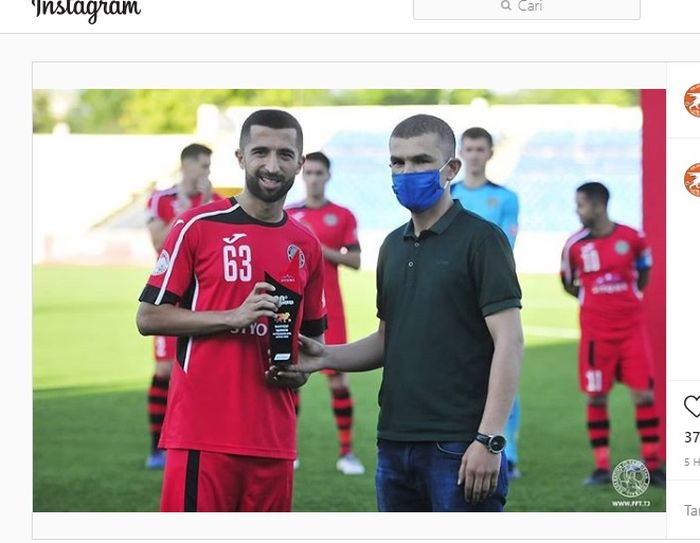 Mantan pemain Persebaya, Manuchekhr Dzhalilov, mampu raih penghargaan pemain terbaik bulan April di Liga Tajikistan 2020