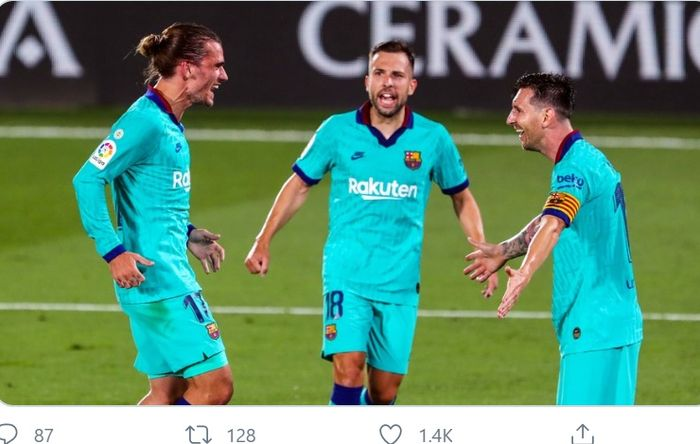 Antoine Griezmann, menikmati assist dari Lionel Messi saat Barcelona mengalahkan Villarreal 4-1 di pekan ke-34 Liga Spanyol, Minggu (5/7/2020) di Estadio de la Ceramica.