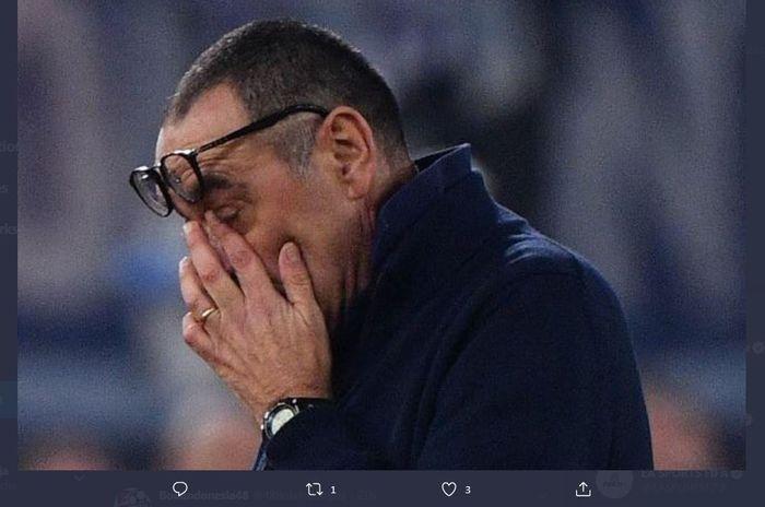Reaksi pelatih Juventus, Maurizio Sarri.