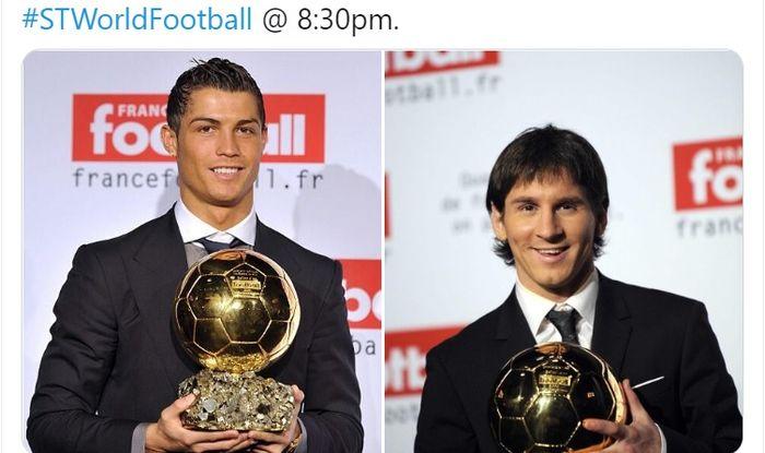 Cristiano Ronaldo (kiri) dan Lionel Messi saat mengangkat trofi Ballon d'Or untuk pertama kalinya.