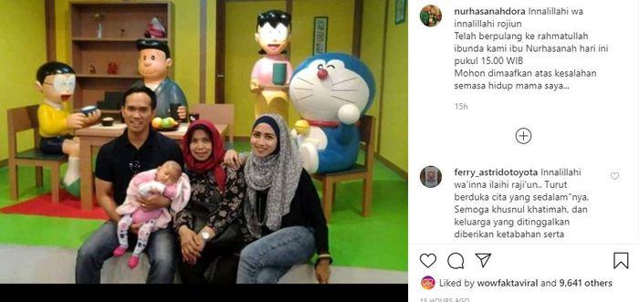 Pengisi suara karakter Doraemon, Nurhasanah Iskandar meninggal dunia.