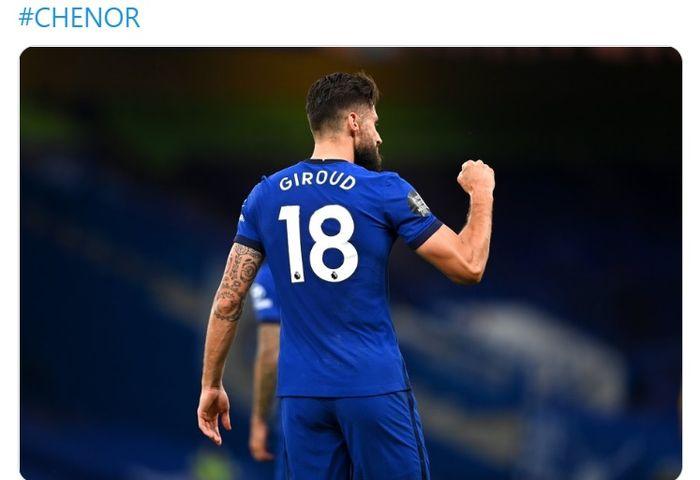 Striker veteran asal Prancis, Olivier Giroud, membawa Chelsea menang atas Norwich City pada laga Liga Inggris, di Stadion Stamford Bridge, Selasa (14/6/2020).