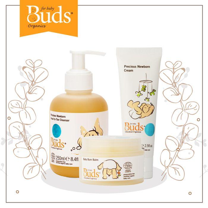 Buds Organics Newborn Package diformulasikan khusus untuk merawat kulit bayi usia 0-6 bulan