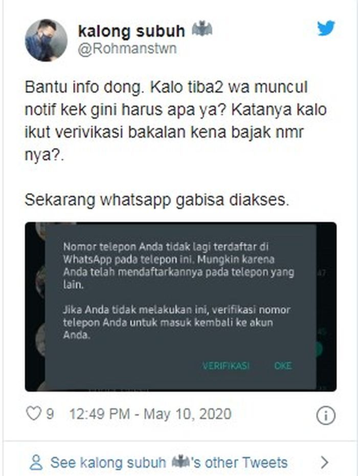 Notifikasi yang muncul pada WhatsApp