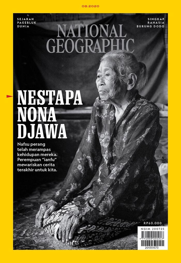 Sampul National Geographic Indonesia edisi Agustus 2020. Ronasih, 81 tahun, berpose untuk difoto di samping rumahnya. Saat usia remaja, dia diculik tentara Jepang untuk dijadikan ianfu (pemuas kebutuhan seksual). Foto oleh Rahmad Azhar Hutomo, fotografer National Geographic Indonesia.