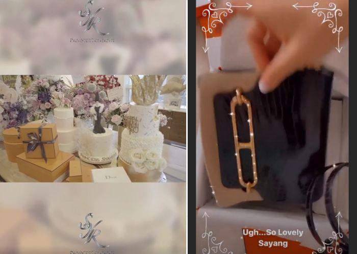 Syahrini mendapatkan beberapa kado ulang tahun, salah satunya tas branded dari brand Hermes
