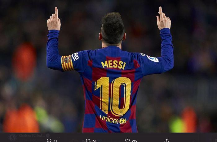 Momen megabintang Barcelona, Lionel Messi, melakukan selebrasi usai mencetak gol ke gawang lawan.