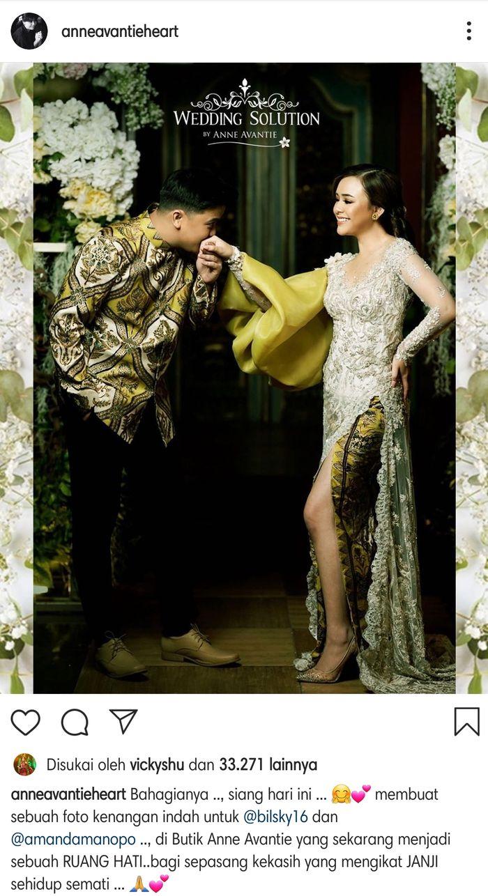Desainer ternama Anne Avantie mengunggah sebuah momen yang diklaim sangat berharga untuk Billy Syahputra dan Amanda Manopo.