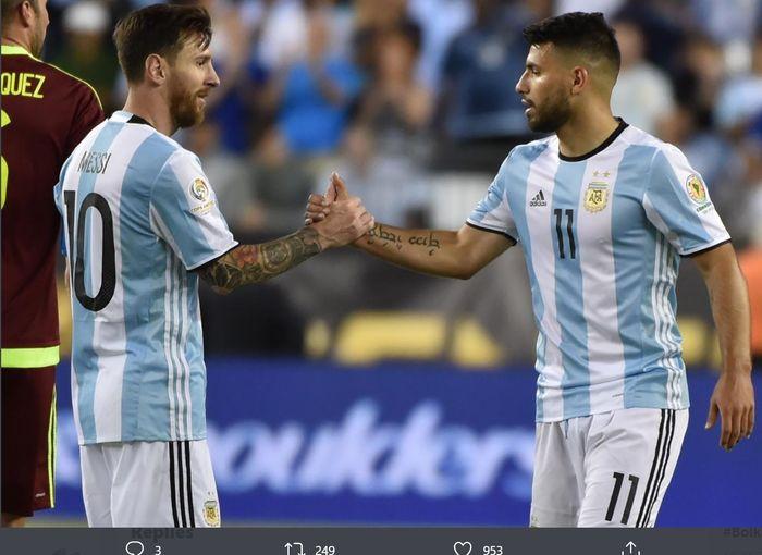 Lionel Messi dan Sergio Aguero.