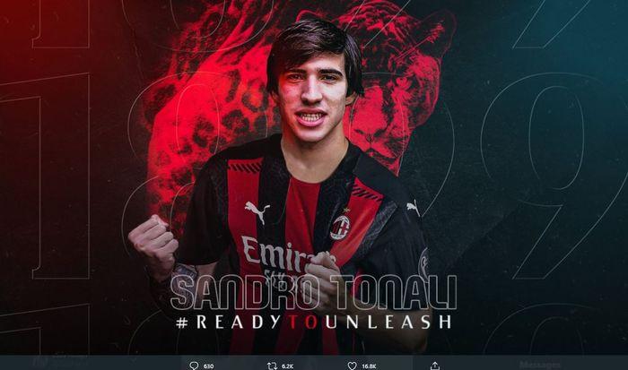 AC Milan resmi mendatangkan Sandro Tonali dengan status pinjaman selama semusim.