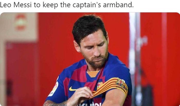 Megabintang Barcelona, Lionel Messi, dipastikan tetap mengenakan ban kapten musim 2020-2021
