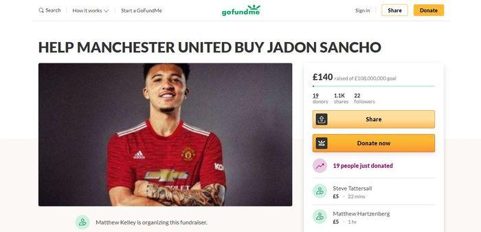 Penampakan situs penggalangan dana untuk membeli Jadon Sancho yang dikelola salah satu penggemar Manchester United.