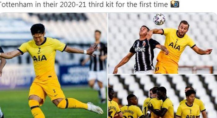 Tottenham Hotspur untuk pertama kalinya menggunakan kostum ketiga pada musim 2020-2021 saat melawan Lokomotiv Plovdiv dalam laga babak kualifikasi II Liga Europa di Stadion Lokomotiv Plovdiv, Kamis (17/9/2020).