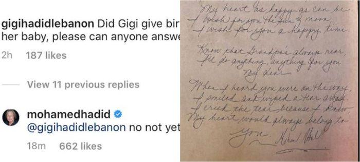 Mohamed Hadid unggah surat menyentuh untuk cucunya.
