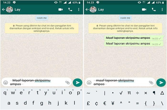 Trik mengubah font WhatsApp