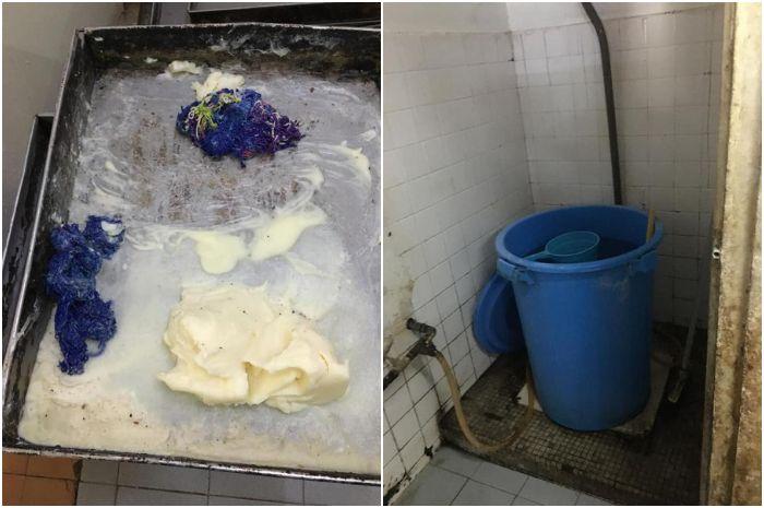 Adonan roti dibuat menggunakan air yang diambil dari toilet yang kotor. Kolase gambar Facebook/DBLK
