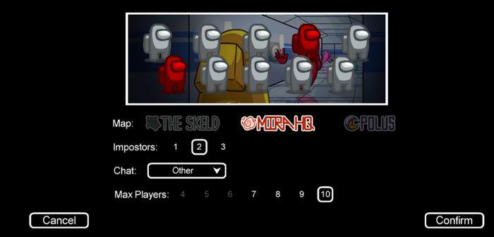 Fitur pemilihan Peta, jumlah Impostor, Chat, dan batasan maksimal pemain di Among Us