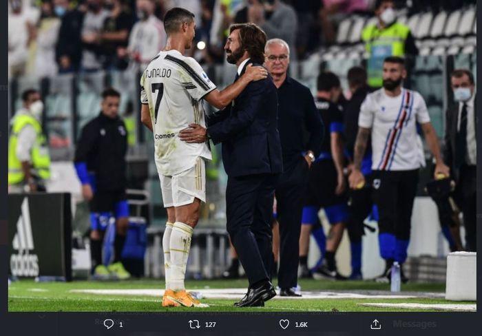 Andrea Pirlo bersama Cristiano Ronaldo dalam lanjutan Liga Italia Juventus melawan Sampdoria.