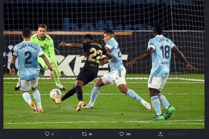 Ansu Fati mencetak gol dalam laga Celta Vigo vs Barcelona, 1 Oktober 2020.