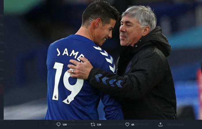 James Rodriguez dan Carlo Ancelotti, kunci kebangkitan Everton di awal musim ini.