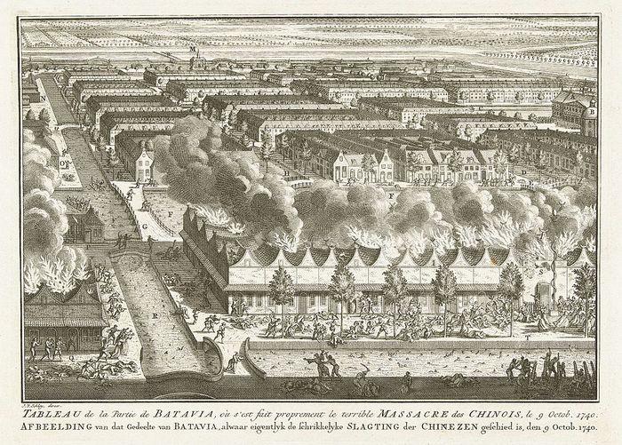 Pembantaian warga Cina di Batavia pada 9 Oktober 1740. Litografi Jakob van der Schley  (1715–1779) berdasar lukisan karya Adolf van der Laan (1690 –1742).