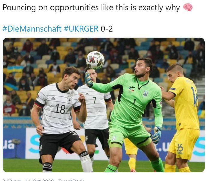 Gelandang timnas Jerman, Leon Goretzka saat mencetak gol ke gawang Ukraina dalam laga UEFA Nations Leafue Liga A Grup 4 Stadion NSK Olimpiyskiy, Kyiv, Ukraina pada Sabtu (10/10/2020) atau Minggu dini hari WIB.