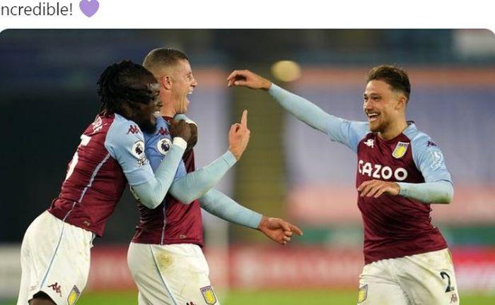 Gelandang Aston Villa, Ross Barkley (tengah), merayakan gol ke gawang Leicester City dalam laga Liga Inggris di Stadion King Power, Minggu (18/10/2020).