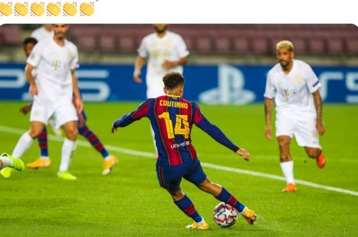 Gelandang Barcelona, Philippe Coutinho, mencetak gol dalam laga Grup G Liga Champions melawan Ferencvaros di Stadion Camp Nou, Selasa (20/10/2020).