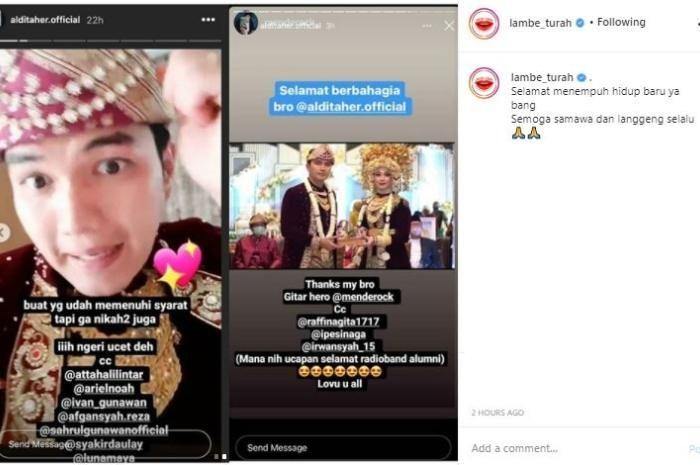 Mengunggah Aldi Taher Instagram Story