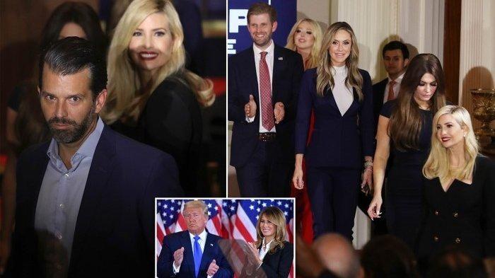 Presiden Donald Trump menemani keluarganya pada Rabu dini hari saat menyampaikan pidato kemenangannya, di mana ia menyatakan bahwa pemilihan itu 'curang terhadap rakyat Amerika'.
