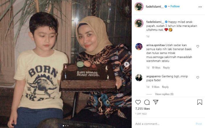 Momen ulang tahun anak kelima Muzdalifah dari pernikahannya dengan Nassar. (Tangkap layar Instagram @fadelislami__)