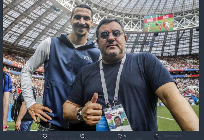 Zlatan Ibrahimovic bersama agennya, Mino Raiola.
