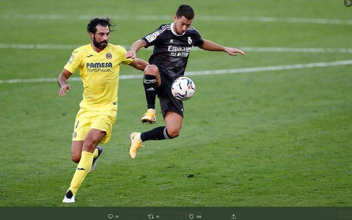 Aksi bintang Real Madrid, Eden Hazard, saat melawna Villarreal pada Sabtu (21/11/2020).