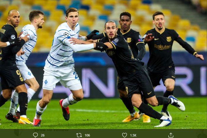 Bek Barcelona, Oscar Mingueza, dipromosikan dari tim B dalam laga kontra Dynamo Kyiv di matchday 4 Liga Champions, Selasa (24/11/2020) di Stadion Olimpiyskiy, Kiev.