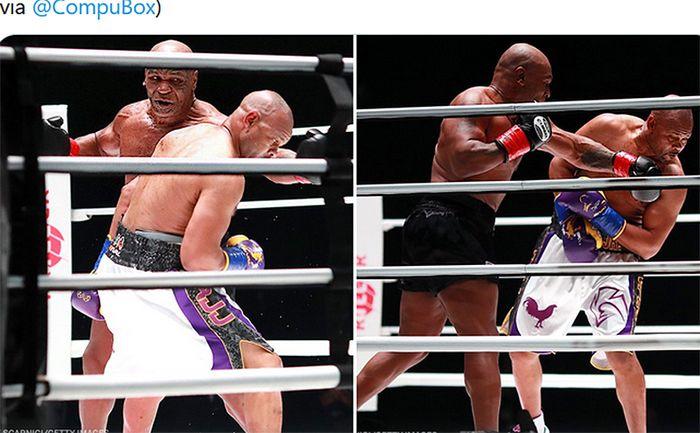 Cuplikan aksi Mike Tyson (celana hitam) dan Roy Jones Jr. dalam pertandingan ekshibisi di Staples Center, California, Amerika Serikat, 28 November 2020.