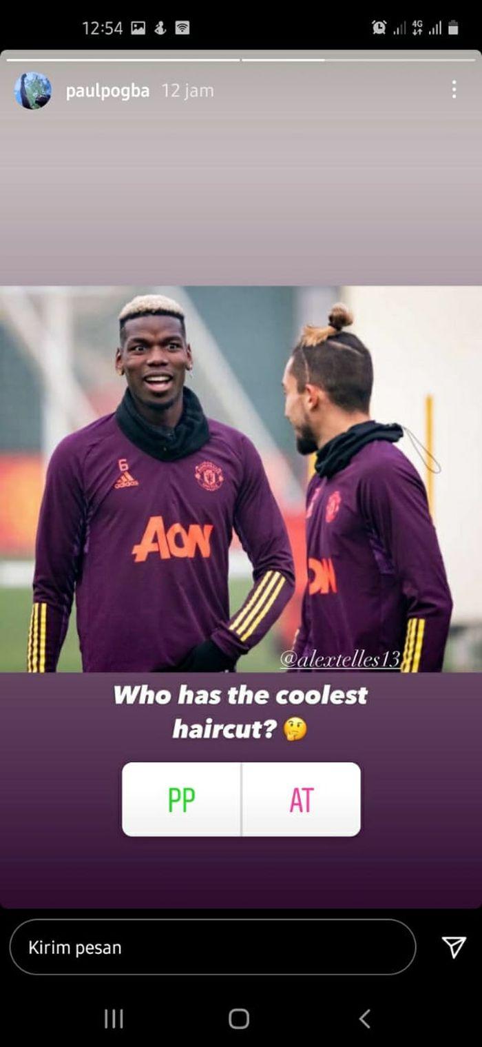 Unggahan instagram story Paul Pogba pada Senin (7/12/2020).