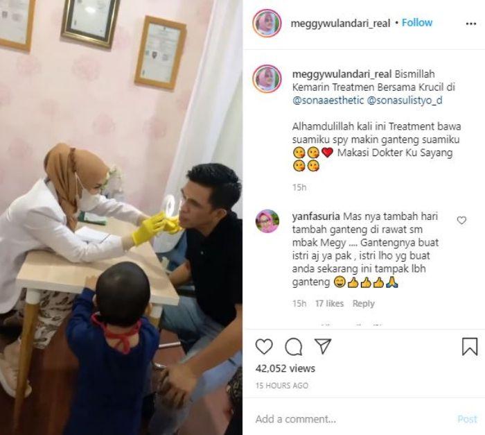 Meggy Wulandari bersama sang suami di klinik kecantikan wajah