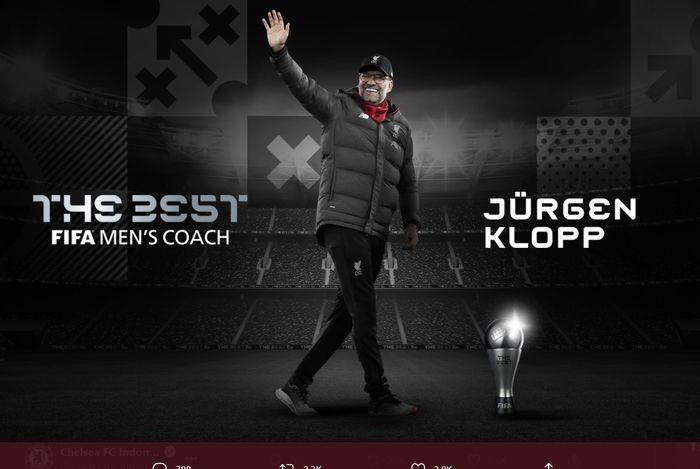 Pelatih Liverpool Juergen Klopp telah memenangkan Penghargaan Pelatih Terbaik FIFA 2020.