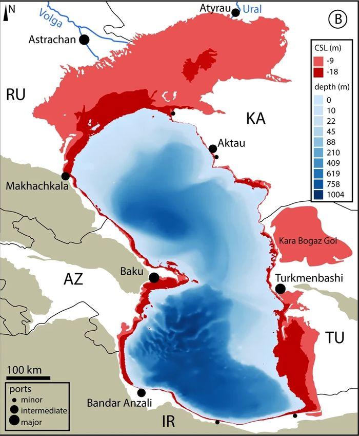 Warna merah menandai sisi Laut Kaspia yang akan mengering sebagai dampak perubahan iklim.