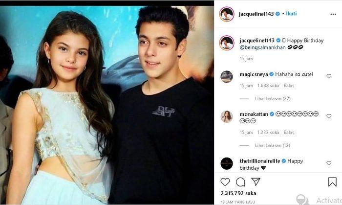 Jacqueline Fernandez unggah potret dirinya dan Salman Khan versi muda.