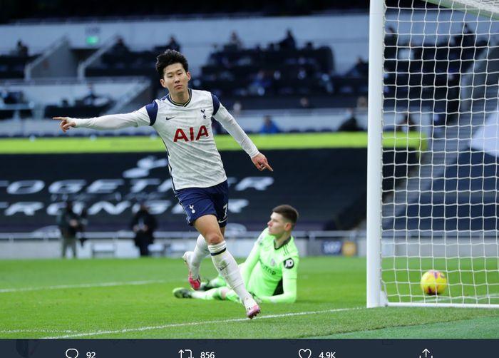 Son Heung-min, mencetak gol ke-100 buat Tottenham Hotspur saat mengalahkan Leeds United di Liga Inggris, Sabtu (2/2/2021) di Tottenham Hotspur Stadium.