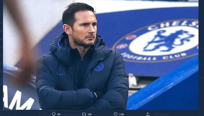 Ekspresi pelatih Chelsea, Frank Lampard.
