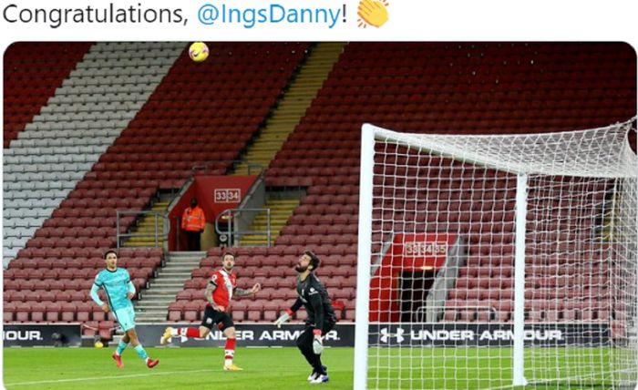 Proses terjadinya gol yang diciptakan striker Southampton, Danny Ings, saat melawan Liverpool dalam laga Liga Inggris di Stadion St. Mary's, Senin (4/1/2020).