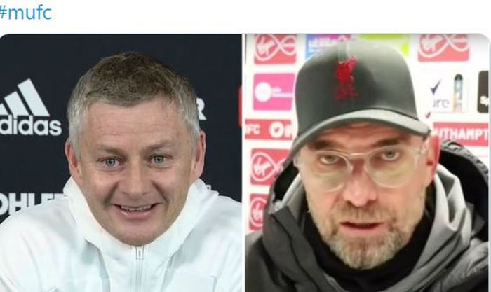 Pelatih Manchester United, Ole Gunnar Solskjaer, dan pelatih Liverpool, Juergen Klopp.