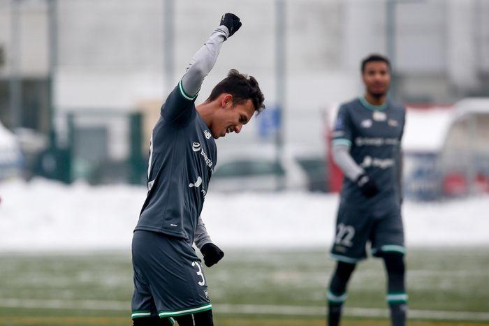 Winger timnas Indonesia, Egy Maulana Vikri, saat merayakan gol yang diciptakannya untuk Lechia Gdansk di laga uji coba.