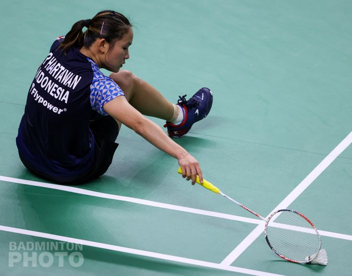 Pebulu tangkis tunggal putri Indonesia, Ruselli Hartawan, takluk dari Yeo Jia Min (Singapura) pada babak pertama Thailand Open II 2021 di Impact Arena, Bangkok, Thailand, 20 Januari 2021.