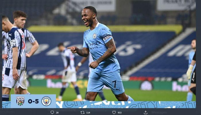 Raheem Sterling mencetak gol saat Manchester City membantai West Brom di The Hawthorns, 26 Januari 2021.