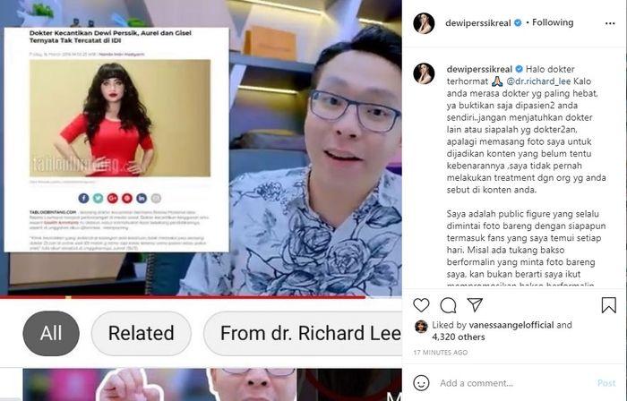 Dewi Perssik labrak dr Richard Lee